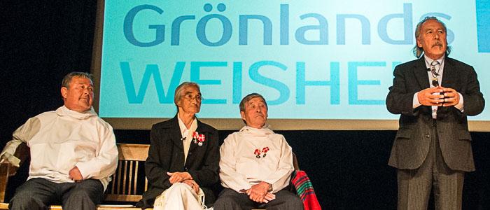 The Greenlandic elders Nukaarta, Atsaarsuaq Hansiina and Akkaaraq with Angaangaq at the international event »Greenlands Wisdom« in Munich.